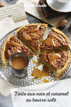 La recett de la tarte aux noix et caramel au beurre salé #cuisineactuelle #tarte #caramel Tarte Caramel, French Toast, Breakfast, Food, Sweetie Pies Recipes, Gourmet Desserts, Sweet Pie, Morning Coffee, Essen