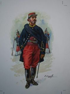 Voltigeurs of the French Imperial Guard officer 1870, by Patrice Courcelle.