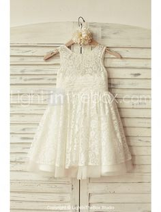 A-Line Knee Length Flower Girl Dress - Lace Tulle Sleeveless Scoop Neck with Ribbon Toddler Flower Girl Dresses, Tulle Flower Girl, Princess Flower Girl Dresses, Tulle Flowers, Wedding Flower Girl Dresses, Girls Dresses Online, Girls Pageant Dresses, Junior Dresses, Robes D'occasion