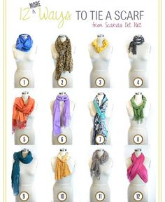 Just In time For Fall And Winter ! DIY- 12 More Ways to Tie A Scarf !!