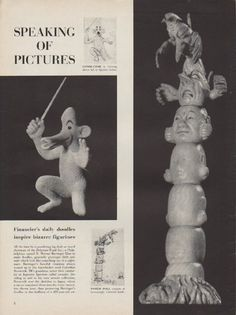 "Description: 1954 D. MOREAU BARRINGER vintage print article ""bizarre figurines""-- Article discusses the doodles of financier, D. Moreau Barringer, and Japanese netsukes which were created out of ivory from his doodles of grotesque little animals. -- Size: The dimensions of each page of the two-page article are approximately 10.5 inches x 14 inches (27cm x 36cm). Condition: This original vintage two-page article is in Very Good Condition unless otherwise noted ()."
