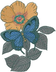 Free Flowers And Butterflies Embroidery Design | AnnTheGran