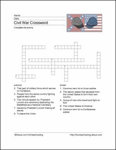 Civil War Wordsearch, Vocabulary, Crossword, and More: Civil War Crossword Puzzle High School American History, Teaching American History, History Classroom Decorations, World History Classroom, Black History Month Activities, History For Kids, Civil War Activities, Enrichment Activities, Teaching Activities