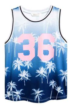 From basic to bold, we have girls' tops and t-shirts in all kinds of styles and a wealth of colorful prints. Cute Nike Outfits, New Outfits, Basketball Vests, Shirt Print Design, Mixing Prints, Sleeveless Shirt, Boys Shirts, Blue Tops, Printed Shirts