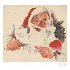 Santa Claus reading letter Giclee Print at Art.com