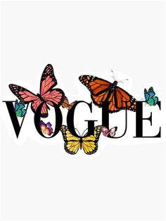 'butterfly Vogue' Sticker By Bluewavesticker In 2021