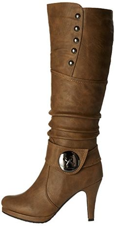 Womens Win-45 Knee High Round Toe Slouched High Heel Boots, Cognac 8