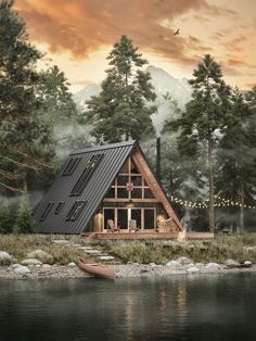 Ayfraym - A-Frame House or Cabin Plans & Kits - New Ideas Cabins In The Woods, House In The Woods, House On Land, Cabin On The Lake, Cabins In The Mountains, Rural House, House In Nature, A Frame House Plans, A Frame House Kits