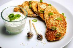 Placki z kalafiora z sosem tzatziki - Just Be Fit Be Strong! Tzatziki, Lunch, Chicken, Meat, Food, Diets, Meal, Eat Lunch, Essen