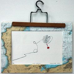 """""""Lance amarre""""  Lithographie 1/16 polychrome deux couleurs.  Passe partout personnalisé carte marine 40×30 cm.    Extrait d'une série de 12 lithographies sur la vie à bord d'un bâtiment école de la Marine Nationale.  Marion Le Bec 2012"""