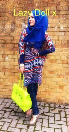 How to wear an Aztec chiffon blouse - Dina Tokio Muslim Women Fashion, Islamic Fashion, Modest Fashion, Hijab Fashion, Modest Clothing, Turban, Dina Tokio, Hijab Collection, Mehndi