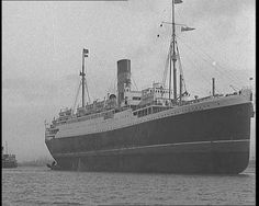 """Item title reads - News in a Nutshell. Intertitle - 'Liverpool' (Merseyside) - Various shots of the liner """"Lancastria"""" aground in the Mersey. Dog Fighting, In A Nutshell, Model Ships, British History, British Isles, Titanic, Sailing Ships, Liverpool, Maps"""