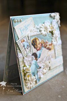 Butterfly Kisses: Little Darlings Baby Boy card