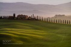 Orcia valley in the misty morning Tuscany Italy Europe by Catuncia. Please Like http://fb.me/go4photos and Follow @go4fotos Thank You. :-)