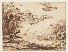 Anthonie van Borssom | Hond op eendenjacht, Anthonie van Borssom, 1640 - 1677 |
