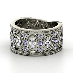 Renaissance Band, Sterling Silver Ring with Iolite. i love this a little bit.