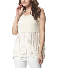 Look at this #zulilyfind! Simply Couture Beige Crochet Sleeveless Top by Simply Couture #zulilyfinds