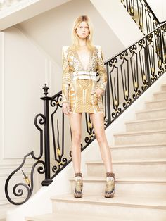 Balmain cruise / resort 2012 - White dress with golden embroided and V-neck
