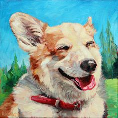 Chai the happy Corgi. Another custom pet painting from David Kennett at www.bffpetpaintings.com