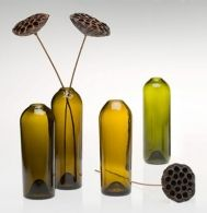 By using diamond slitting discs, files and core drills, vases and vessels can be created from old glass bottles. Vases by David Guilfoose Wine Bottle Candles, Recycled Glass Bottles, Wine Bottle Corks, Diy Bottle, Wine Bottle Crafts, Bottles And Jars, Cut Bottles, Bottle Cutting, Wine And Beer