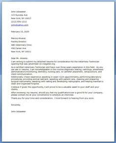 Vet Tech Cover Letter - great idea on formatting and introduction but this example should have been reviewed ;)