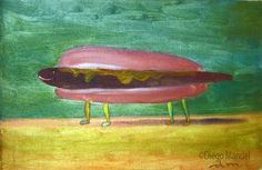 hotdog. Painting of the Serie Surrealism for sale by artist Diego Manuel