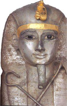 Silver anthropoid coffin of King Psusennes I (Akheperra Setepenamun, 1039-991 BCE). Dynasty 21. Cairo Museum, Egypt.