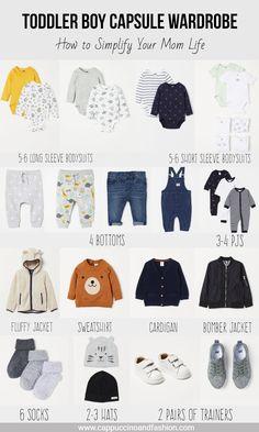 toddler boy capsule wardrobe free checklist minimalist baby wardrobe cappuccino and fashion # Baby Outfits, Newborn Outfits, Toddler Outfits, Kids Outfits, Toddler Boy Fashion, Toddler Boys, Minimalist Baby, Minimalist Parenting, My Bebe