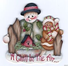 "HP SNOWMAN & Gingerbread ""A Chill in the Air"" FRIDGE MAGNET"
