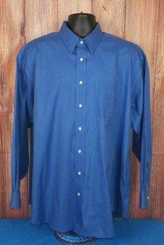 Jos A Bank Traveler's Collection Mens Long Sleeve Dress Shirt Blue Size 17 #2 #JosABank