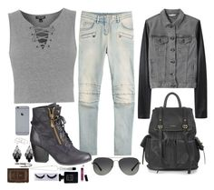 """""""Untitled #1051"""" by style-and-chic-boutique ❤ liked on Polyvore featuring Topshop, Balmain, rag & bone/JEAN, Michael Kors, maurices, Vanessa Mooney, Oasis, Beyond Rings, Yves Saint Laurent and Bobbi Brown Cosmetics"""
