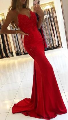 Red mermaid v neck lace long prom dress evening dress red prom dress,lace prom dress,appliques prom dress,mermaid prom dress Senior Prom Dresses, Cute Prom Dresses, Prom Outfits, Dance Dresses, Sexy Dresses, Elegant Dresses, Wedding Dresses, Backless Dresses, Red Ball Dresses