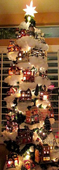 decorate christmas tree with village