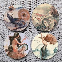 Siren Song Mermaid Mousepad Coaster Set by Polkadotdog on Etsy, $12.50