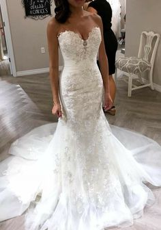 Love this Wedding Strapless Dresses Trendy 2019 Mermaid Lace Wedding Dress Long Sleeves, Bridal Gown ,Dresses For Brides Wedding Dress Tight, Sexy Wedding Dresses, Princess Wedding Dresses, Boho Wedding Dress, Sexy Dresses, Wedding Gowns, Mermaid Wedding Dress Bling, Bling Dress, Elegant Dresses