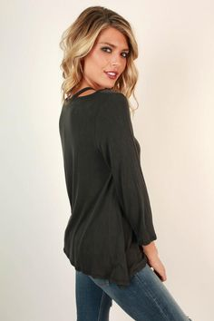 We are all smiles for this top! Pair it with jeans for a simple but still compliment worthy look! This top features a slight distressed wash to give you that effortless casual chic vibe we all love! Cut Out Top, All Smiles, Boutique Clothing, Casual Chic, Compliments, Perfect Fit, Skinny, Simple, Jeans