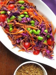 "Winter Rainbow Slaw « Part-Time Health Nut Take out the edamame and the ""cheesy nut crumbles"" for a Paleo-friendly slaw Healthy Cooking, Healthy Eating, Healthy Food, Rainbow Salad, Good Food, Yummy Food, Tasty, Healthy Salad Recipes, Dairy Free Recipes"