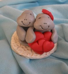 Clay Manatee Couple with Valentines Heart