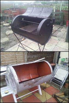 diy einen bbq ofen aus einem lfass selber bauen camping grillen campfire pinterest. Black Bedroom Furniture Sets. Home Design Ideas