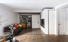 This Genius Tiny Apartment Transforms Into 5 Different Rooms -  it has everything you need in 360 sq ft : housebeautiful. #gif