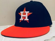 New Era Houston Astros ROAD 59Fifty Fitted Hat (Navy Orange) MLB Cap   125b1aba3308