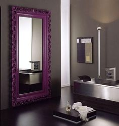 mirror with purple frame | ... yellow but the frame is chunky and it's grey and.. OK, purple mirror