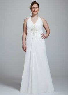 David's Bridal Women's Chiffon Halter Gown with Beaded Embroidery $399.99