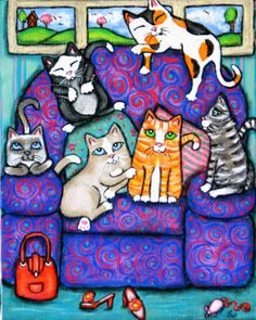 Cat's On Mom's Chair Painting at ArtistRising.com