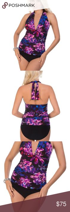 NEW Magicsuit Two-Piece Tankini Halter Swimsuit NEW Magicsuit by Miraclesuit Divine April Halter Two-Piece Tankini Swimsuit   New with Tags  Size: 10  or 16 For compression fit, purchase normal size  For comfort fit, purchase one size larger than normal  Color: Purple, Pink, Blue with Black Solid Bottoms  Retail $180.  Captivating hues creates an eye-catching print in the Tankini Top,  A fitted front hides any imperfection by way of mid-shirring adjustable halter straps. Carve your every…