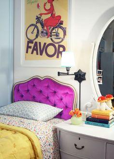 Love the purple headboard in this older girl's room!