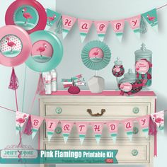 FLAMINGO Birthday Party Pack  Pool or Beach Party by thaGiftZone®, $15.99