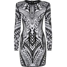 Balmain Jacquard Dress (3,175 CAD) ❤ liked on Polyvore featuring dresses, vestidos, balmain, robes, cocktail dresses, shoulder pad dress, body conscious dress and zip dress