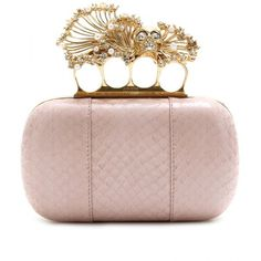 Alexander McQueen CORAL KNUCKLE SNAKESKIN BOX CLUTCH ($2,285) ❤ liked on Polyvore