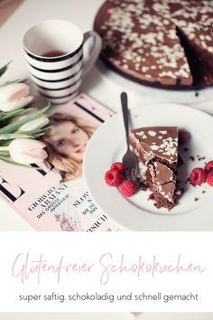 Rezept für einen saftigen glutenfreien Schokoladenkuchen, der schmeckt wie Brownies. Ohne Mehl, nur mit Mandeln